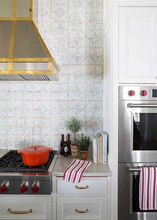 mosaic knobs ivory and blue mosaic grid backsplash tiles cottage kitchen
