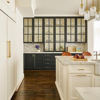White Cabinets Black Hardware Gray Countertops