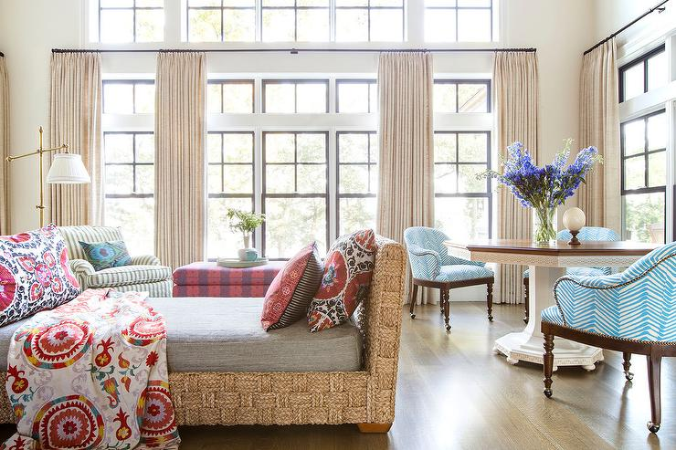 Suzani Blanket And Pillows Dress A Natural Woven Settee In A Cottage Living  Room Next To Blue Chairs In China Seas Zig Zag Fabric Paired With A  Two Toned ...