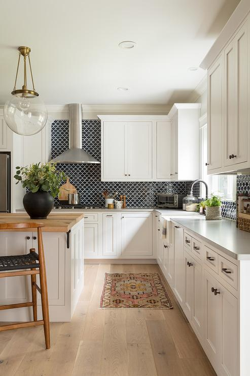 Black Backsplash Tiles With White Cabinets Transitional