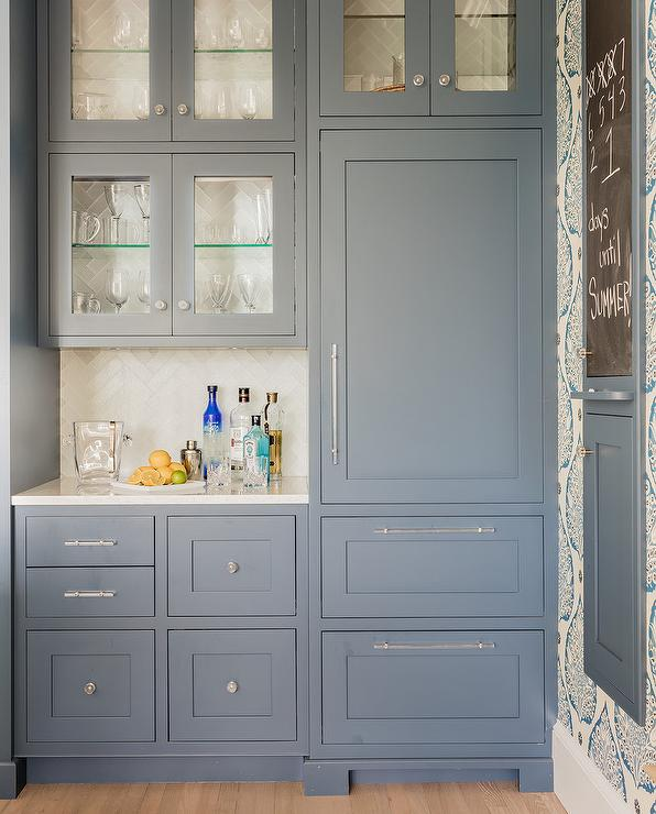 Glass Pulls And Knobs On Blue Bar Cabinets Transitional Kitchen