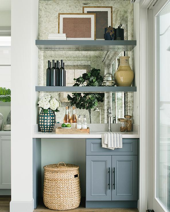 Rustic Wet Bar With Wood And Brass Shelves Transitional