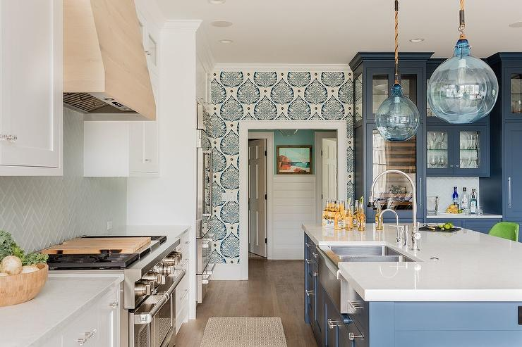 Blue Glass Lanterns With Blue Island Transitional Kitchen