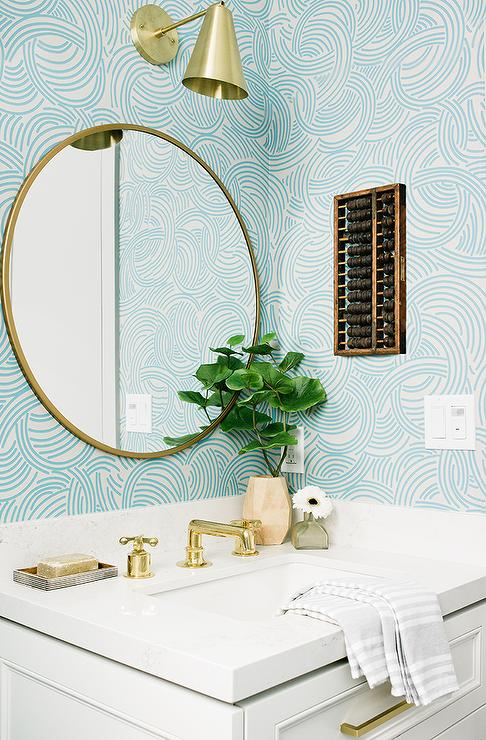 Gold And Blue Powder Room Design Transitional Bathroom
