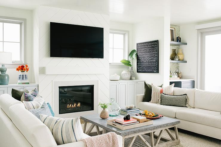 White Chevron Shiplap Fireplace Wall With Tv Transitional