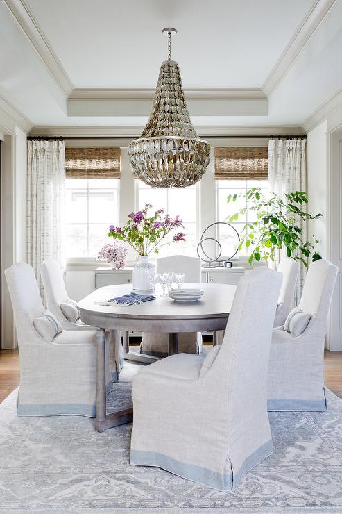 Oval Dining Table With Gray Bamboo Dining Chairs