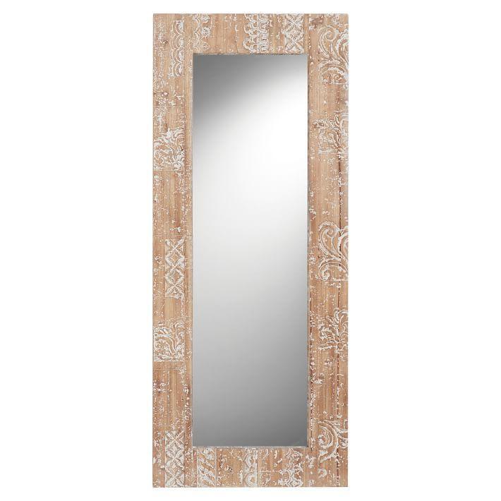 Oversized Slim Antique Bronze Frame Leaning Floor Mirror