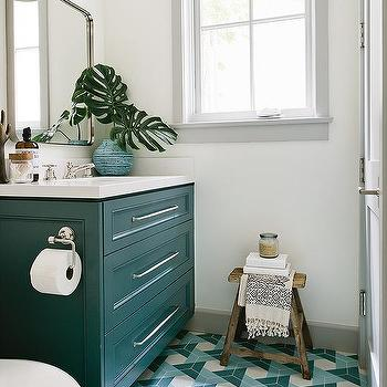 Peacock Blue Dresser Like Washstand With Blue Triangle Pattern Tiles