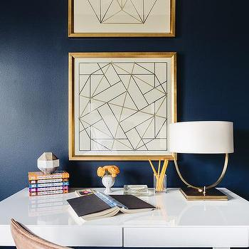 Dark Blue Office Wall Paint Design Ideas