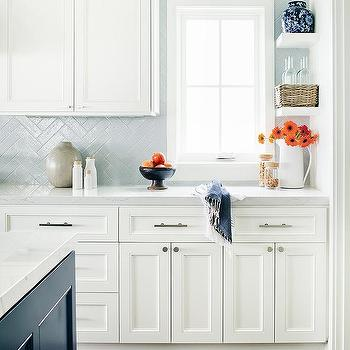 Light Blue Herringbone Kitchen Backsplash Tiles Design Ideas