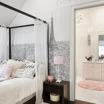 Black And White Paris Bedroom Wall Mural Design Ideas
