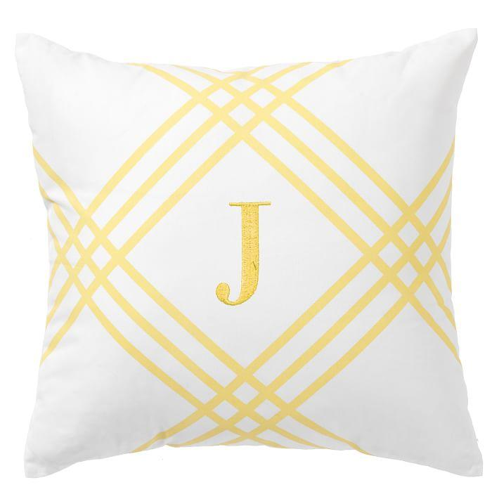 Yellow Printed Frame Monogram Pillow Covers