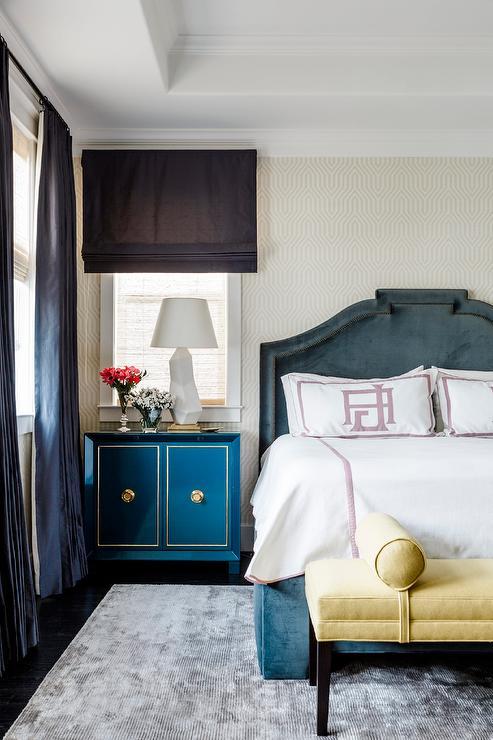 Dark Gray Velvet Bed with Yellow Bench - Transitional - Bedroom