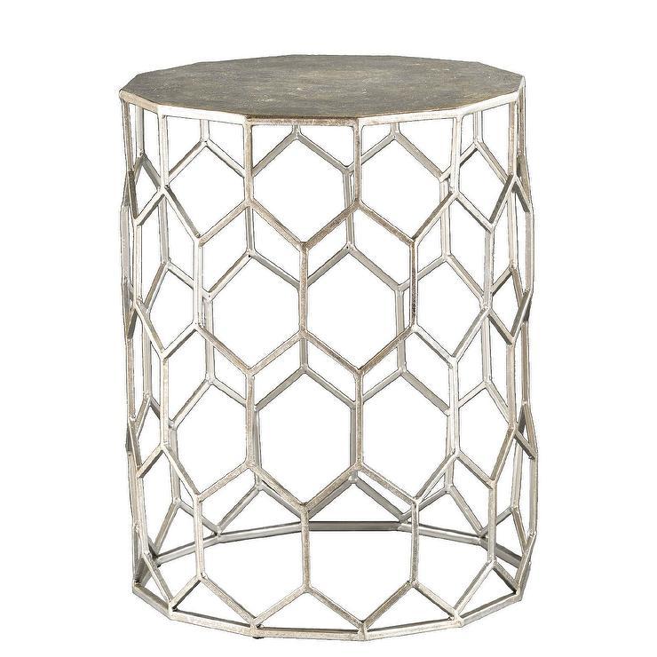newest 91783 3666f Carmen Geometric Silver Metal Accent Table