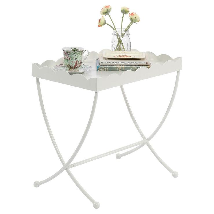 Eden Rue White Scalloped Tray Side Table