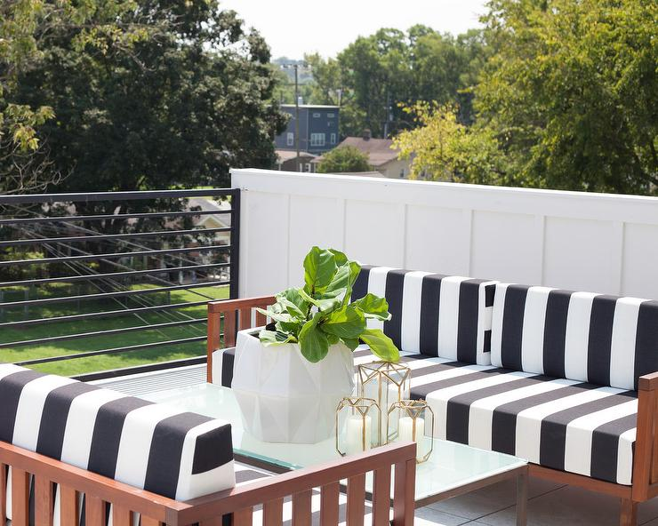 Black And White Striped Outdoor Sofas