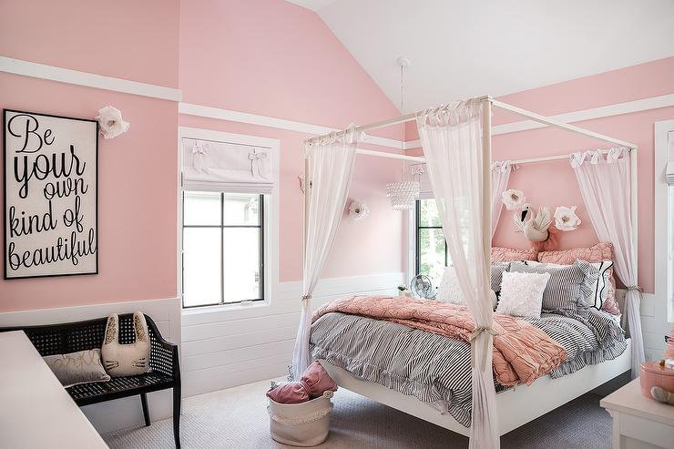 Cotton Candy Pink Girly Bedroom with White Canopy Bed. Cotton Candy Pink Girly Bedroom with White Canopy Bed