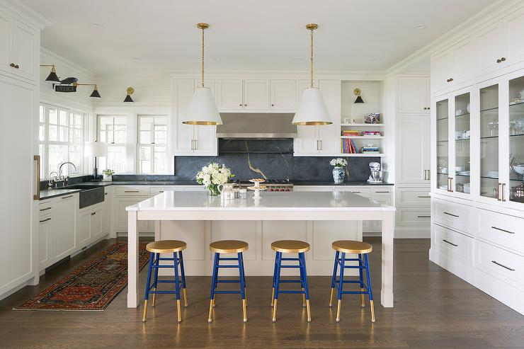 Fantastic Blue And Gold Counter Stools Transitional Kitchen Inzonedesignstudio Interior Chair Design Inzonedesignstudiocom