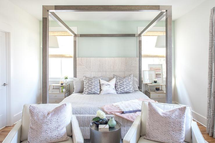 White Chairs in Front of Gray Wood Canopy Bed & White Chairs in Front of Gray Wood Canopy Bed - Transitional - Bedroom