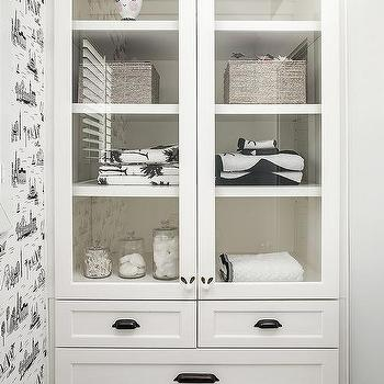 Kids Bathroom With Built In Glass Front Linen Cabinet