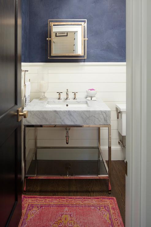 Gramercy Single Metal Washstand With Round Pivot Mirror