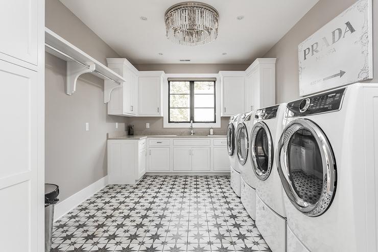 Laundry Room Art Deco Fringe Flush Mount Design Ideas