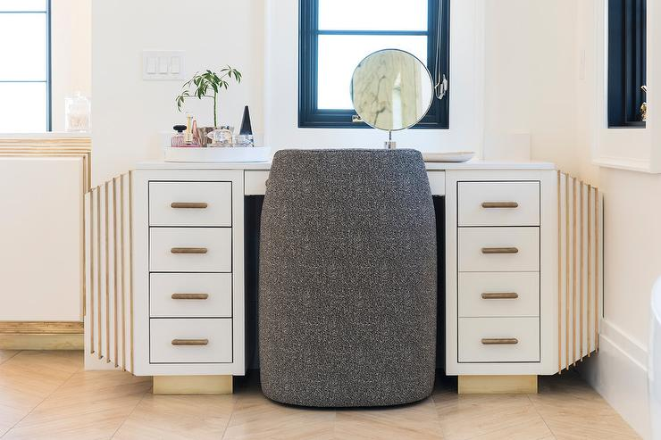 Gray Damask Vanity Chair with Gray Maze Floor Tiles - Transitional - Bathroom