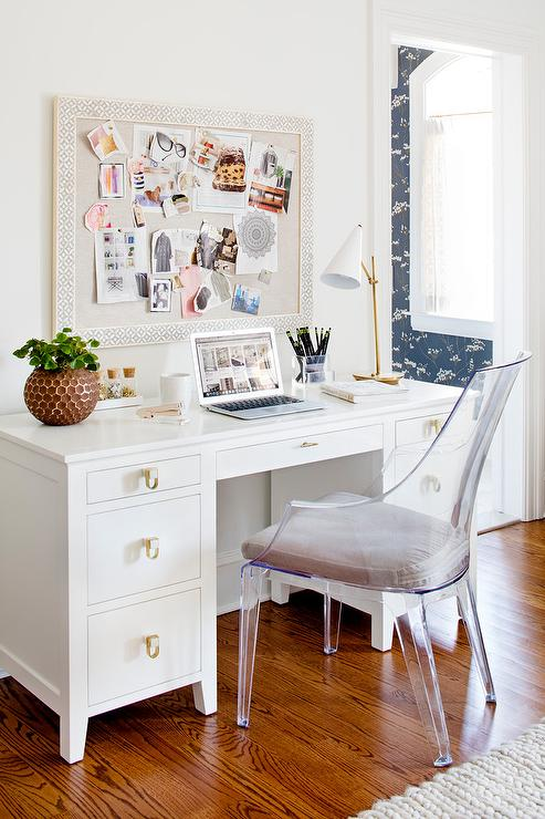 Bone Inlay Pin Board with White Desk - Transitional - Bedroom