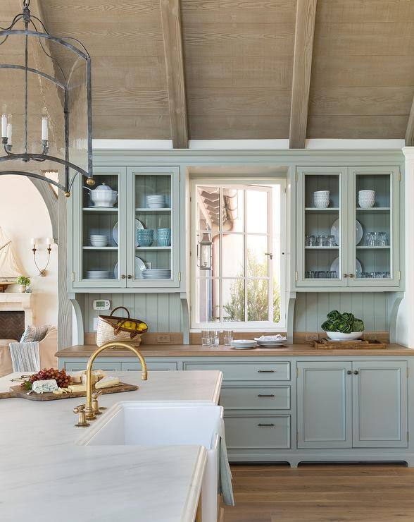 Blue Cottage Kitchen Cabinets With Wood Countertop Cottage