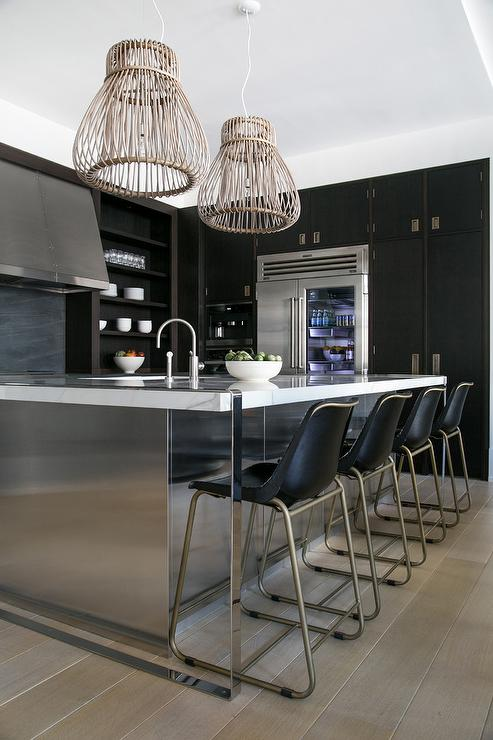 Awe Inspiring Black Molded Leather Counter Stools At Stainless Steel Caraccident5 Cool Chair Designs And Ideas Caraccident5Info