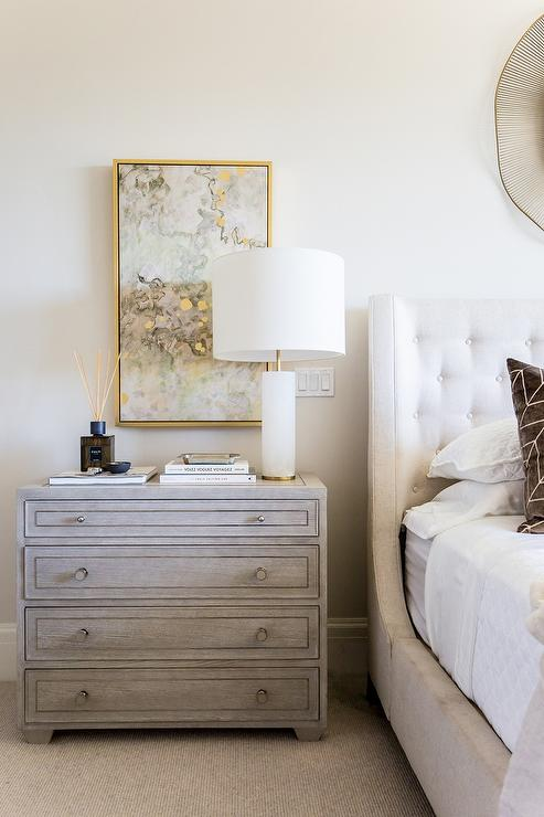 Gray And Gold Abstract Art Over Gray Nightstand