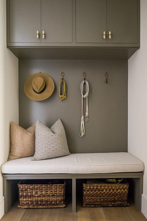 Gray Mudroom Cabinet Over Gray Built In Bench