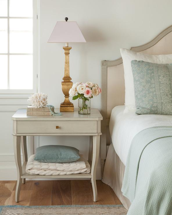 Light Gray Wood French Nightstand With Gold Leaf Lamp