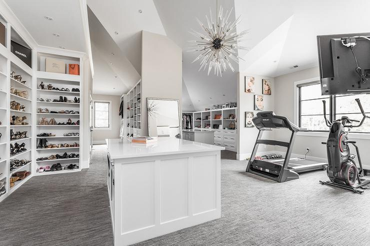 Walk In Closet And Home Gym Combo Contemporary Closet