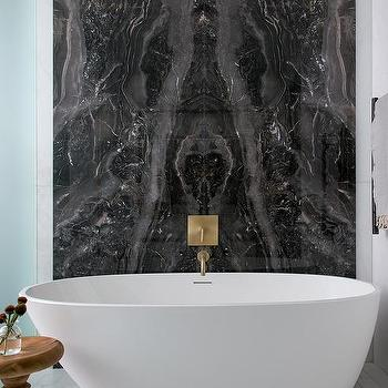 Bookmatched Marble Shower Wall Tiles Contemporary Bathroom