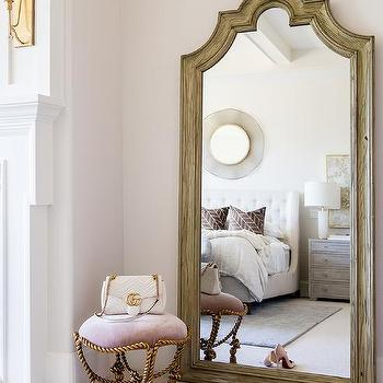 Gray Wood French Mirror With Lilac Stool View Full Size