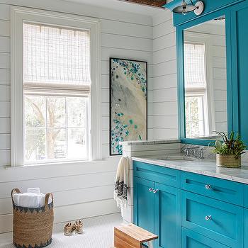 Island Blue Bath Vanity Cabinets Under Rustic Wood Beams