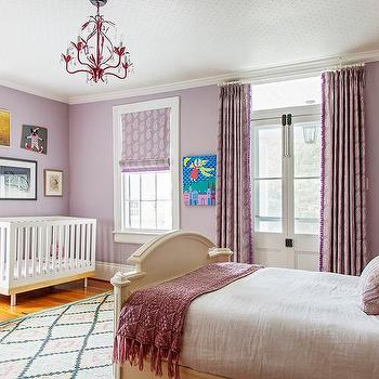 Purple Nursery With Guest Bed