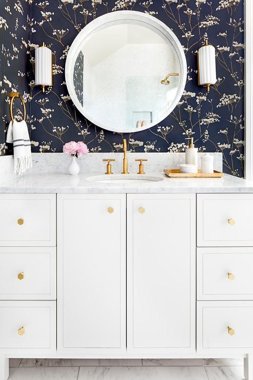 White Bath Vanity With Gray Marble Counters And Vintage