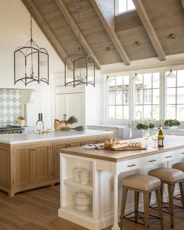 Welcoming White Kitchen Is Illuminated By Regina Andrew: Powder Blue Barn Door On Rails