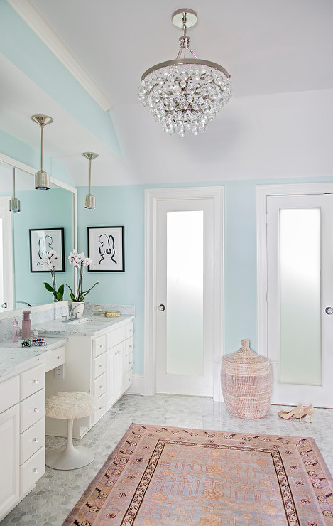 Pink And Gray Master Bathroom With Pink Velvet French