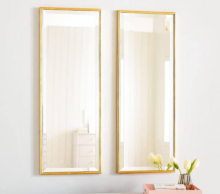 Rectangular 2 Piece Gold Panel Mirrors
