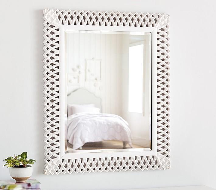 White Geo Wall Mirror 20x20 Kirkland S