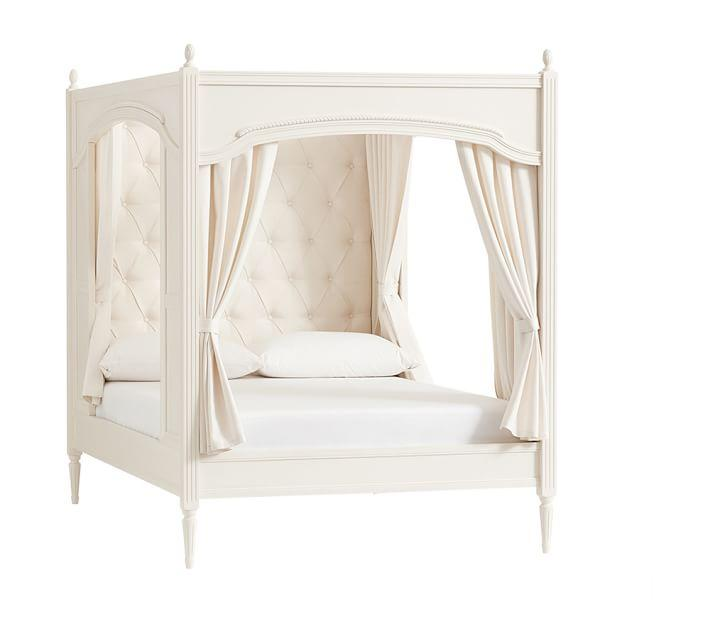 White Upholstered Wooden Framed Bed