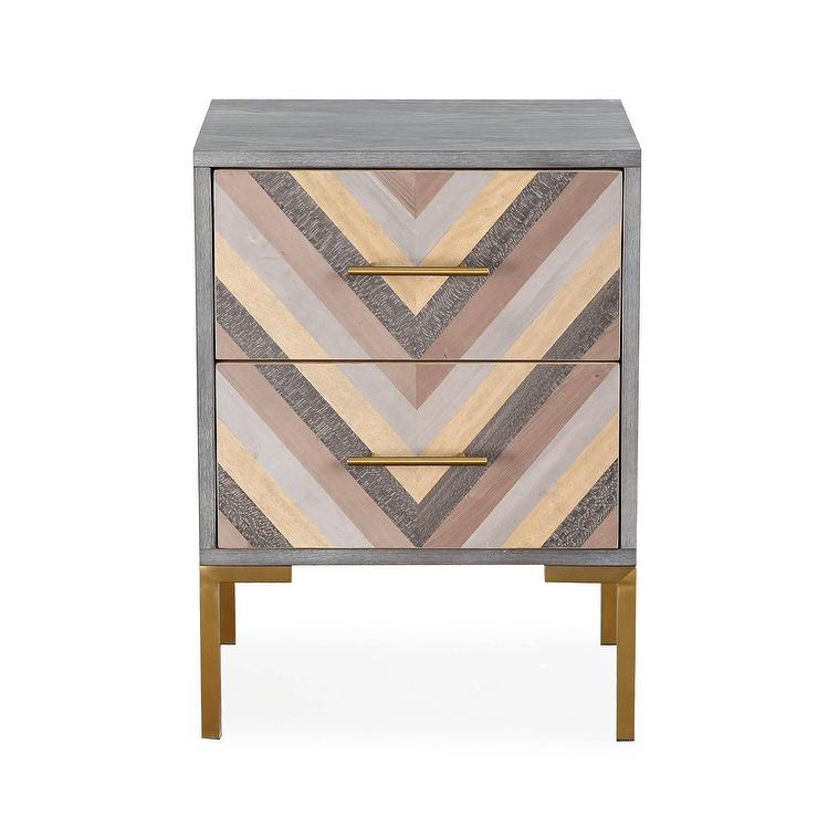 Quinn Chevron Gold Side Table - Brushed gold side table