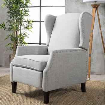 Wescott Wingback Gray Recliner Club Chair