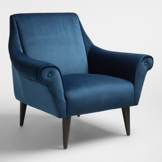 liliana atlantic blue velvet chair