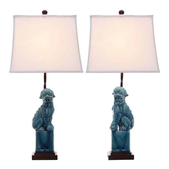 Blue Ceramic Dog Table Lamp Set