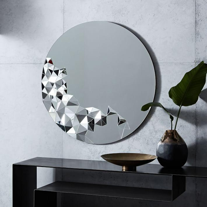 Round Geometrical Faceted Wall Mirror