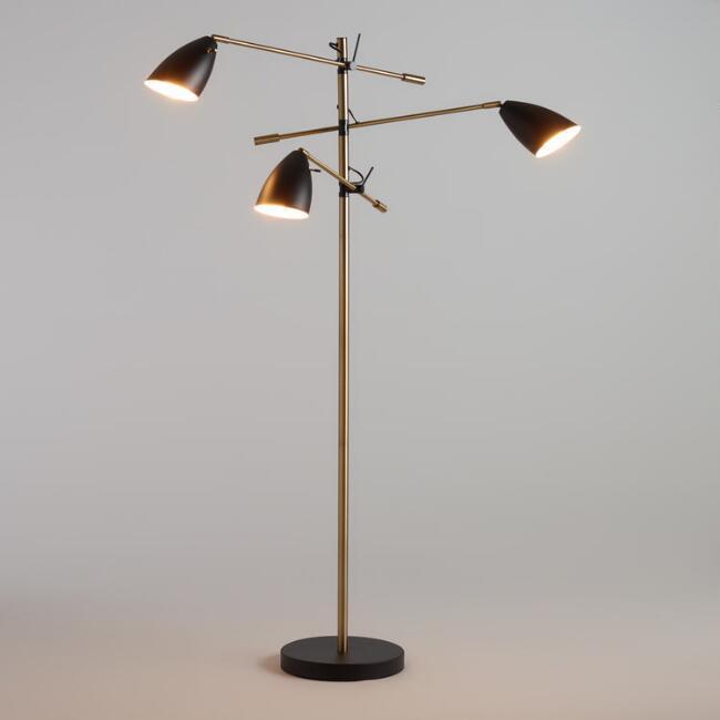 db0be3afb9c Black Brass 3 Shade Articulating Floor Lamp
